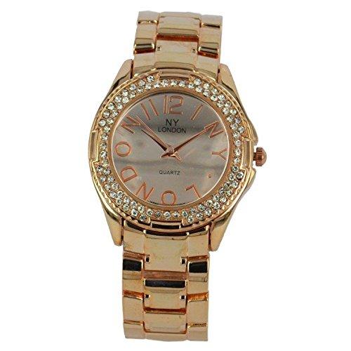 Prince London NY Damen stieg goldfarbenem Metall Uhr mit Stein Luenette und Spiel Gesicht PI 7816
