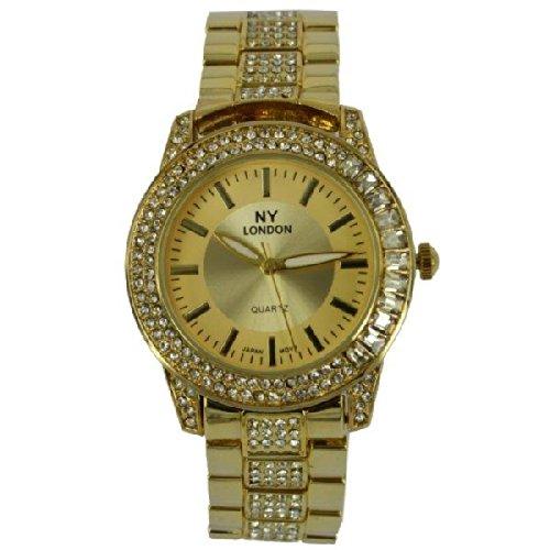 Prince London NY Damen goldfarbenem Metall Uhr mit Stein Luenette und Armband PI 7803