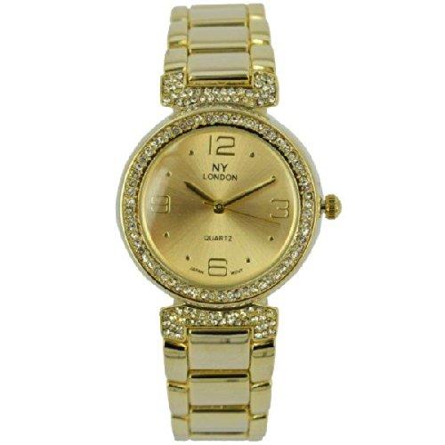 Prince London NY Damen goldfarbenem Metall Uhr mit Stein Luenette und Armband PI 7801