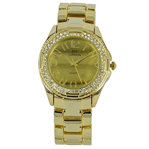 Prince London NY Damen goldfarbenem Metall Uhr mit Stein Luenette und Spiel Gesicht PI 7816