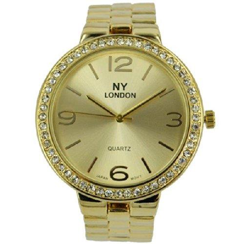 Prince London NY Damen grossen goldfarbenem Metall Uhr mit Stein Luenette PI 7808