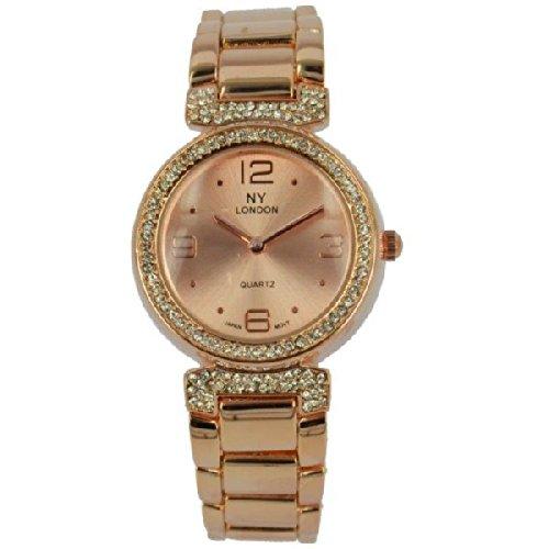 Prince London NY Damen stieg goldfarbenem Metall Uhr mit Stein Luenette und Armband PI 7801