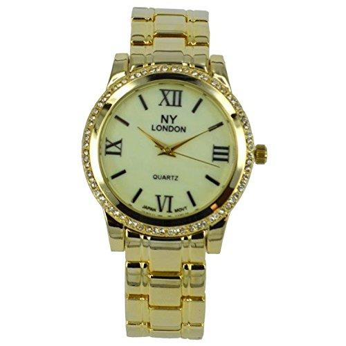 Prince London NY Damen goldfarbenem Metall Uhr mit Stein Luenette und Perlmutt Gesicht PI 7814