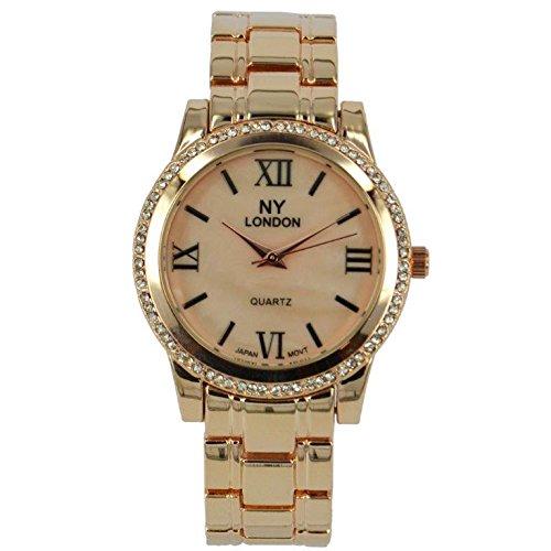 Prince London NY Damen stieg goldfarbenem Metall Uhr mit Stein Luenette und Perlmutt Gesicht PI 7814