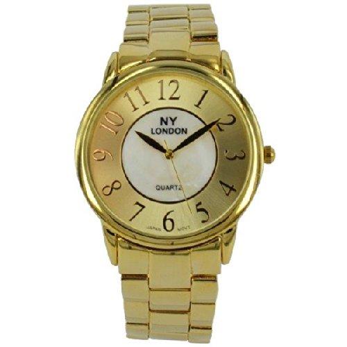 Prince London NY Damen goldfarbenem Metall Uhr mit Perlmutt Gesicht PI 7810