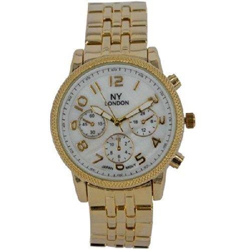 Prince London NY Damen goldfarbenem Metall Uhr mit Perlmutt Gesicht und drei dekorative Zifferblaetter PI 7807