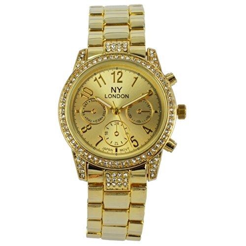 Prince London NY Damen goldfarbenem Metall Uhr mit drei Zifferblaettern dekorative PI 7804