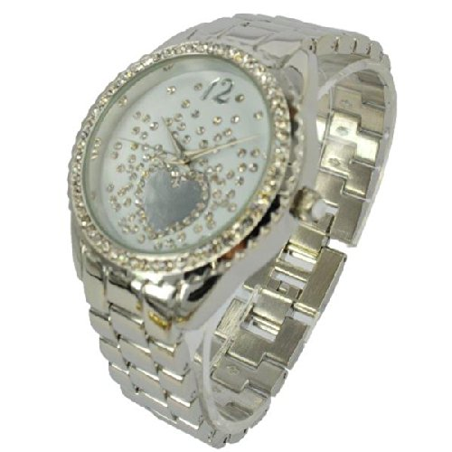 Prince London NY Damen silberfarbenen Metall Uhr mit Stein Luenette und Gesicht Mit einem huebschen herzfoermigen Design PI 7812