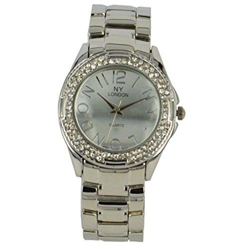 Prince London NY Damen silberfarbenen Metall Uhr mit Stein Luenette und Spiel Gesicht PI 7816
