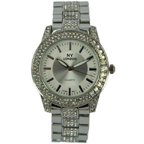 Prince London NY Damen silberfarbenen Metall Uhr mit Stein Luenette und Armband PI 7803