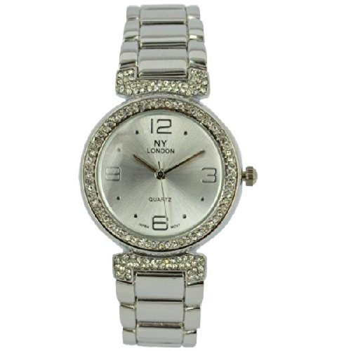 Prince London NY Damen silberfarbenen Metall Uhr mit Stein Luenette und Armband PI 7801