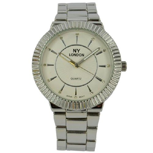 Prince London NY Damen silberfarbenen Metallrahmen Funktion Uhr mit PI 7806