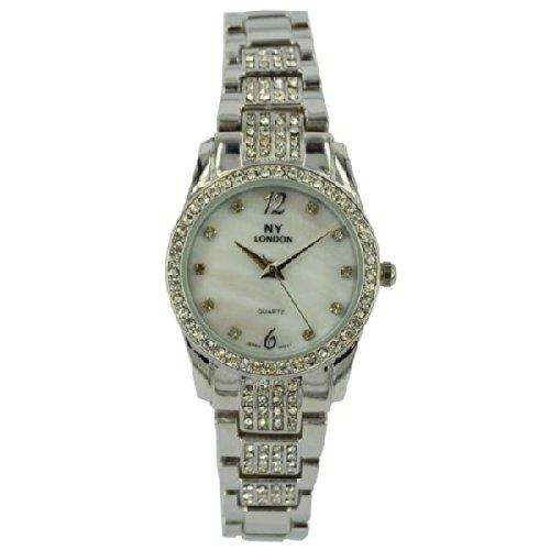 Prince London NY Damen silberfarbenen Metall Uhr mit Stein Luenette und Armband Perlmutt Gesicht PI 7801