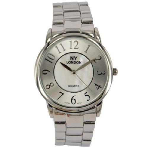 Prince London NY Damen silberfarbenen Metall Uhr mit Perlmutt Gesicht PI 7810