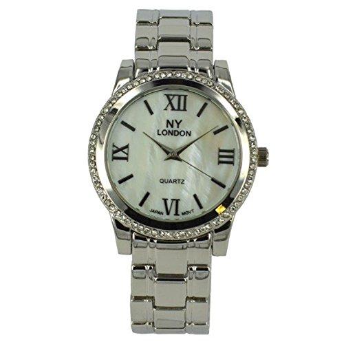 Prince London NY Damen silberfarbenen Metall Uhr mit Stein Luenette und Perlmutt Gesicht PI 7814