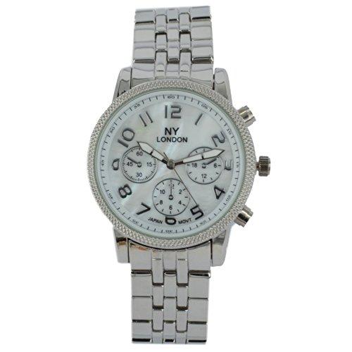 Prince London NY Damen silberfarbenen Metall Uhr mit Perlmutt Gesicht und drei dekorative Zifferblaetter PI 7807