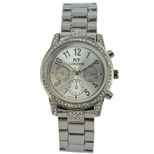 Prince London NY Damen silberfarbenen Metall Uhr mit drei Zifferblaettern dekorative PI 7804