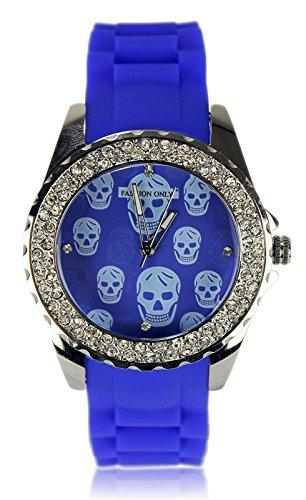 Damen Skull Print Kristall Blau Fashion Armbanduhr