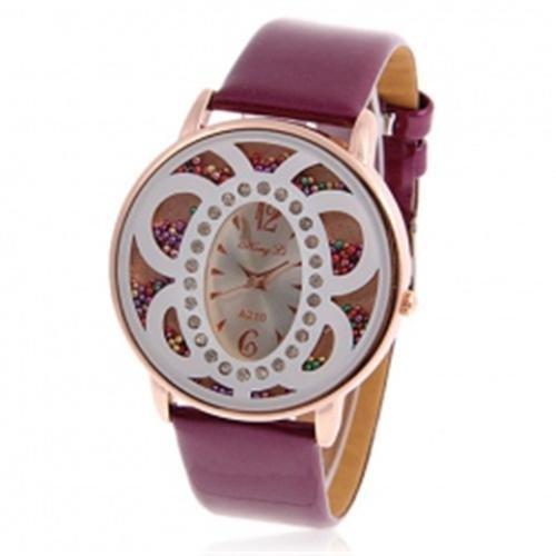 Lila Bead Schmetterling Leder Damen Fashion Armbanduhr
