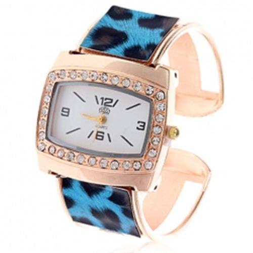 Blau Schwarz Animal Print Damen Fashion Armreif Armbanduhr