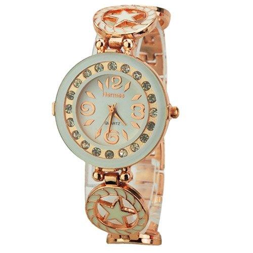 Weiss Kristall Star Damen Fashion Armbanduhr