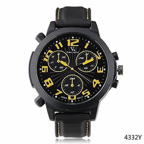 Shan Sport Outdoor Armbanduhr Militaer Casual Big ZAHLEN Unisex Liebhaber Quarzuhr schwarz gelb Kontrast Farbe Fall w Geschenk