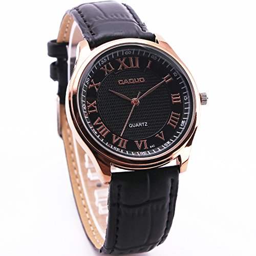 caquo Herren Luxus Vogue Freizeit Quarz Armbanduhr Leder Trageriemen Sekunden Index Rose Golden Fall Analog Roemische Zahlen 3 Haende