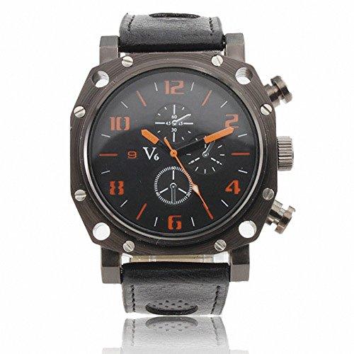 Shan Top Militaer Armee Stil Armbanduhr Fashion Casual Big Button maskuline Herren Armbanduhr Quarz Leder Case Strap w Geschenk Armbanduhr