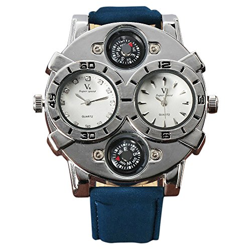 Shan Militaer Armee Fashion Casual Dual Time Zonen Zifferblaetter Pilot Herren Boy Daddies Pfau blau Leder Band Silber Fall