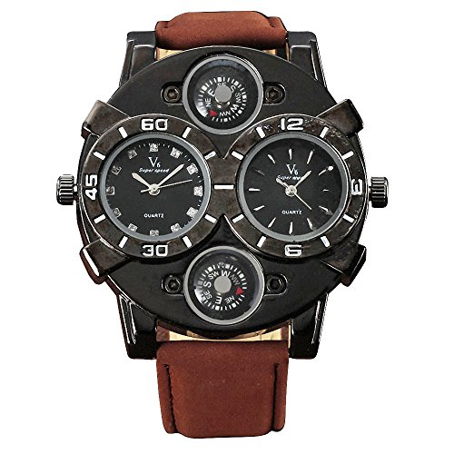 Shan Military Outdoor Herren Boy Pilot Daddies Dual Time Zonen Kompass Dekoration Vintage braun Leder Band Schwarz Fall