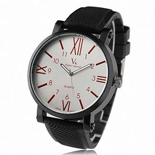Shan New Vintage Roemisches Zifferblatt Oversize Design Herren Sport Mode Rubber Strap Red Dial