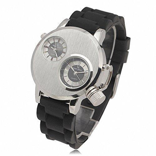 Hot 2 Zeitzone Pilot Militaer Alien Design Herren Fashion Casual Rubber Strap Silber Fall w Geschenk Armbanduhr