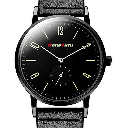rollstimi Marke Leder 30 m wasserabweisend Quarz Uhren Herren Verkauf schwarz