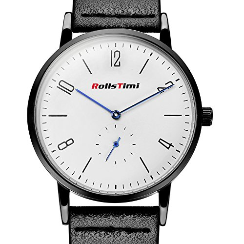 rollstimi Marke Leder 30 m wasserabweisend Quarz Uhren Herren Verkauf weiss