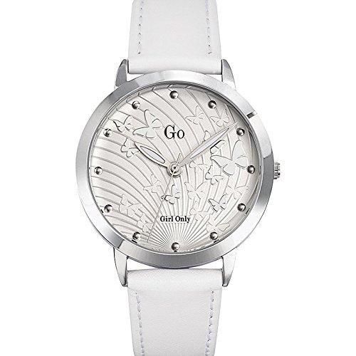 Go Girl Only 698695 045J699 Analog silber Armband Leder Weiss