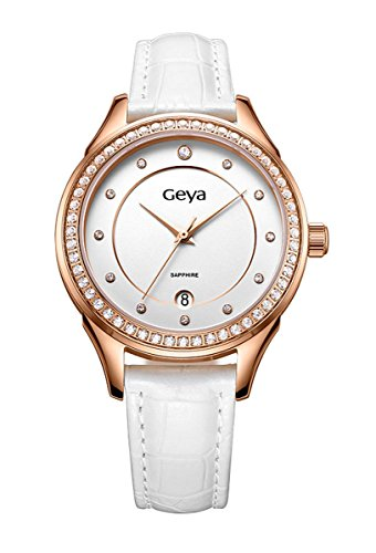 geya Damen gy7009 a Elegant Kleid Kristall Analog Quarz Leder Armbanduhr Weiss