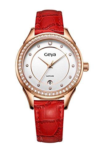 geya Damen gy7009b Elegant Kleid Kristall Analog Quarz Leder Armbanduhr Rot