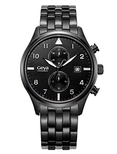 GAYA Herren GY75001A Chronograph Stoppuhr Multifunktions Edelstahl analoge Quarz Anzeige Armbanduhr schwarz schwarz