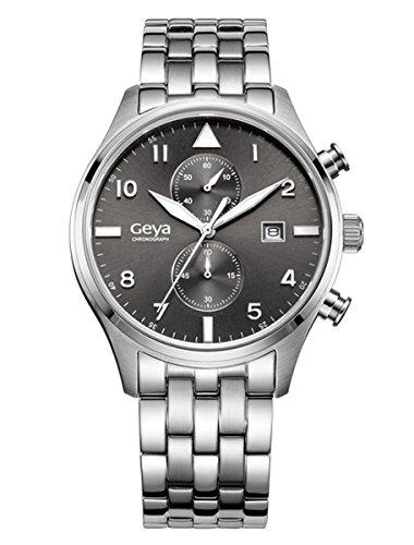 geya Multifunktions Chronograph Quarz Schwarz Zifferblatt Silber Stahl Armbanduhr gy75001b