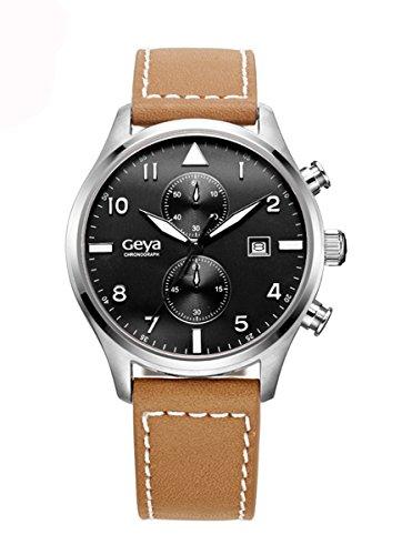 geya Multifunktions Chronograph Quarz Schwarz Zifferblatt Dunkelbraun Leder Armbanduhr gy75001d