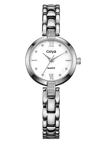 geya Damen ola gy76003b Japan Quarz Analog Display Crystal Jewelry Wasserdicht Stahl Uhr mit weissem Zifferblatt