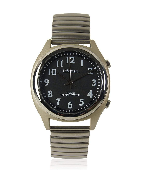 Lifemax Talking Atomic Watch-Stretcharmband MenQuarz-Uhr mit weissem Zifferblatt Analog-Anzeige und Silber-Edelstahl-Armband 4071E