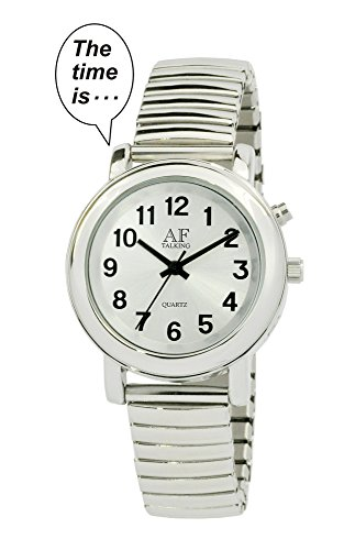 2 nd Generation Talking Watch silberfarbenes Alarm day date Frauen Armbanduhr tk27 a350l 09 M106
