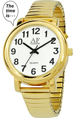 Talking Watch 2 nd Generation Senses Herren goldfarbene Alarm Low Vision Metall Talking Watch atk350g02 M106