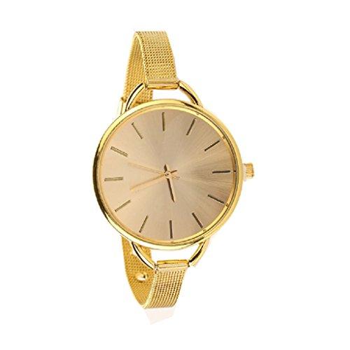 Fortan Frauen Damen verduennen Buegel Edelstahl Band Analog Quarz Armband Armbanduhr Gold