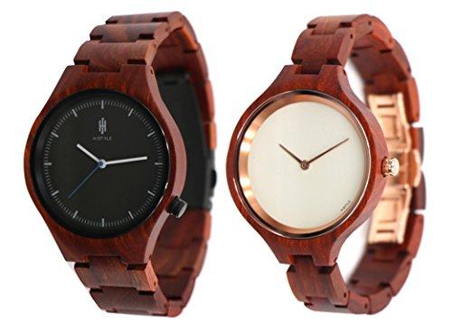 Hstyle Geschenk Paar Uhren Handmade Sein und Ihren Hoelzernen Uhren Rosewood Sapphire Glass Watch 2 Stueck