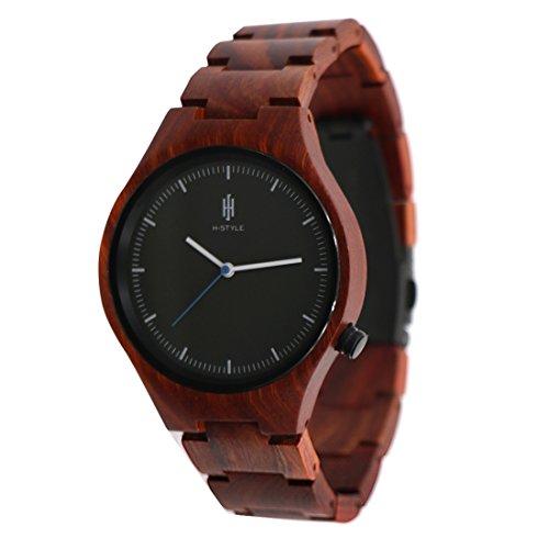 Hstyle Unisex Armbanduhr handgefertigt Rosenholz Glas