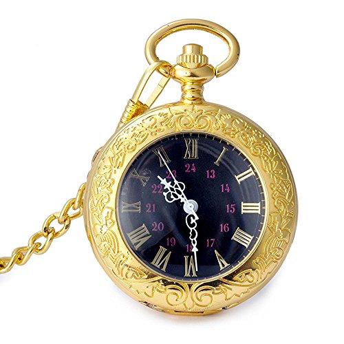 Retro Quartz Taschenuhr switchme Gold Ton Roemische Zahl Japan Bewegung Uhr mit Guertel Clip Kette