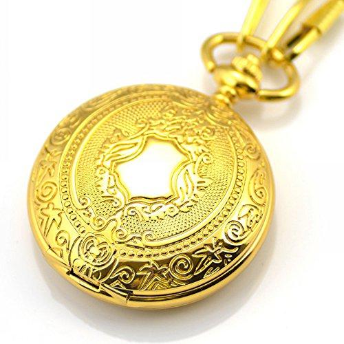 switchme Antik Schild rund Fall Taschenuhr Quarz Japan Bewegung mit Guertel Clip Kette Gold