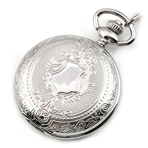 switchme Antik Quarz Shield rund Fall Taschenuhr Japan Bewegung mit Guertel Clip Kette Silber
